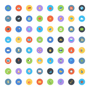 Vector set of modern trendy flat and colorful universal web icons.