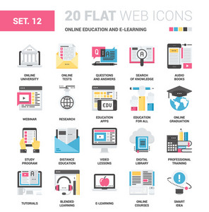 Vector set of online education and e-learning flat web icons. Each icon neatly designed on pixel perfect 64X64 size grid. Fully editable and easy to use.