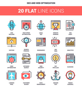 Vector set of SEO and web optimization flat line web icons. Each icon with adjustable strokes neatly designed on pixel perfect 64X64 size grid. Fully editable and easy to use.