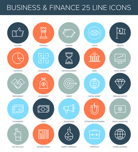Vector set of simple thin line business and finance icons.