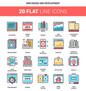 Vector set of web design and development flat line web icons. Each icon with adjustable strokes neatly designed on pixel perfect 64X64 size grid. Fully editable and easy to use.