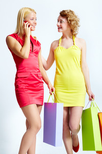 Vertical image of lovely shopping girls with colorful bags