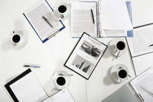 View from above of business objects on desk with nobody near by