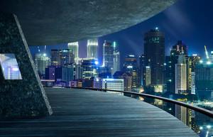 View from open space balcony,Kuala Lumpur city night night scene.