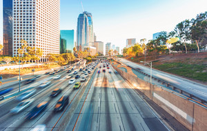 View of Los Angeles highway rush hour traffic in Downtown LA