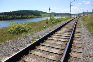 View of railway in perspective between river banks in the country