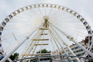 view of Sziget Eye, the Budapest's ferris wheel at the Erzsebet Ter (Elisabeth Square)