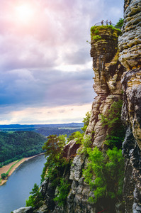 Viewpoint with some tourist on bastei rock formation in Saxon Switzerland National Park, Germany