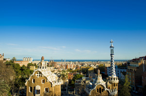 Views from the Parc Guell designed by Antoni Gaudi, Barcelona, Spain.