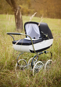 Vintage baby pram outdoors in autumn nature