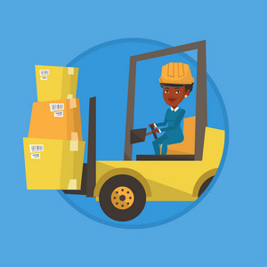 Warehouse worker loading cardboard boxes. Forklift driver at work in warehouse. Warehouse worker in hard hat driving forklift. Vector flat design illustration in the circle isolated on background.