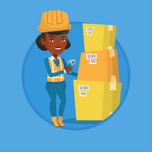 Warehouse worker scanning barcode on box. Warehouse worker checking barcode of box with a scanner. Warehouse worker with scanner. Vector flat design illustration in the circle isolated on background.