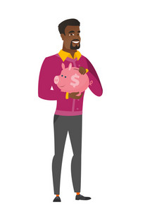 Widely smiling african business man holding pink piggy bank with dollar sign. Full length of young business man with piggy bank in hands. Vector flat design illustration isolated on white background