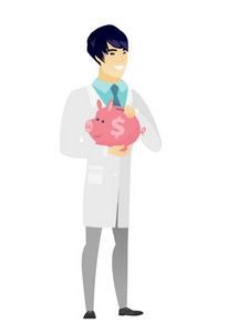 Widely smiling asian doctor in medical gown holding pink piggy bank with dollar sign. Full length of young doctor with piggy bank in hands. Vector flat design illustration isolated on white background
