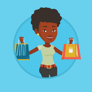 Woman carrying shopping bags. Woman holding shopping bags. Girl standing with a lot of shopping bags. Girl showing her purchases. Vector flat design illustration in the circle isolated on background.