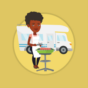 Woman cooking steak on barbecue grill on the background of camper van. Woman travelling by camper van and having barbecue party. Vector flat design illustration in the circle isolated on background.