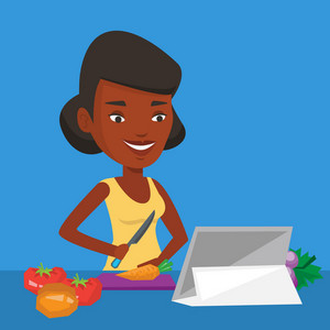 Woman cutting vegetables for salad. An african woman following recipe for vegetables salad on digital tablet. Woman cooking healthy vegetable salad. Vector flat design illustration. Square layout.