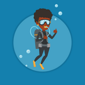 Woman diving with scuba and showing ok sign. Young woman in diving suit snorkeling and giving thumb up. Woman enjoying the dive. Vector flat design illustration in the circle isolated on background.