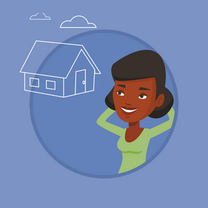 Woman dreaming about future life in a new house. Woman planning her future purchase of house. Woman thinking about buying a house. Vector flat design illustration in the circle isolated on background.