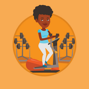 Woman exercising on elliptical trainer. Woman working out using elliptical trainer. Woman doing exercises on elliptical trainer. Vector flat design illustration in the circle isolated on background.