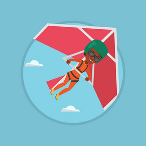 Woman flying on hang-glider. Sportswoman taking part in hang gliding competitions. Woman having fun while gliding on delta-plane. Vector flat design illustration in the circle isolated on background.