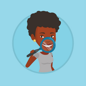 Woman holding a magnifying glass in front of her teeth. Woman examining her teeth with magnifier. Concept of teeth examining. Vector flat design illustration in the circle isolated on background.