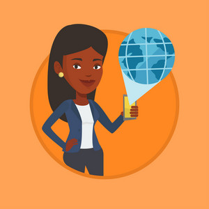 Woman holding a smartphone with a model of planet earth coming out of the device. International technology communication concept. Vector flat design illustration in the circle isolated on background.