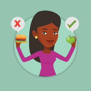 Woman holding apple and hamburger. Woman choosing between apple and hamburger. Woman choosing between healthy and unhealthy nutrition. Vector flat design illustration in circle isolated on background.