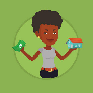 Woman holding money and model of house. Woman having loan for house. Woman got loan for buying a house. Real estate loan concept. Vector flat design illustration in the circle isolated on background.