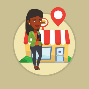 Woman holding smartphone with application for looking for restaurant. Woman using smartphone application for searching of restaurant. Vector flat design illustration in circle isolated on background.