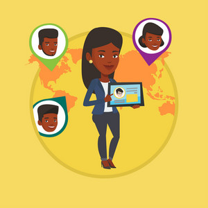 Woman holding tablet with social network user profile. Woman standing on the background of world map with avatars of social network. Vector flat design illustration in circle isolated on background.