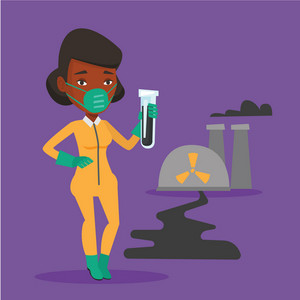 Woman in radiation protective suit standing on the background of nuclear power plant. An african woman in radiation protective suit holding test-tube. Vector flat design illustration. Square layout.