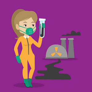 Woman in radiation protective suit standing on the background of nuclear power plant. Caucasian woman in radiation protective suit holding test-tube. Vector flat design illustration. Square layout.