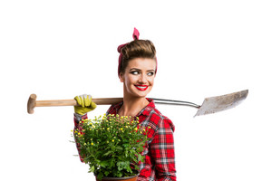 Woman in red checked shirt with pin-up make-up and hairstyle holding  yellow daisies and spade. Studio shot on white background