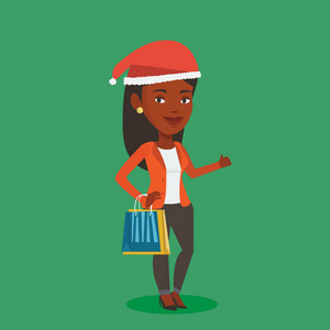 Woman in santa hat holding shopping bags. African-american woman carrying shopping bags. Girl with a lot of shopping bags. Woman buying christmas gifts. Vector flat design illustration. Square layout