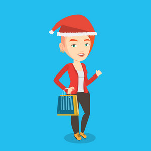 Woman in santa hat holding shopping bags. Caucasian woman carrying shopping bags. Girl with a lot of shopping bags. Young woman buying christmas gifts. Vector flat design illustration. Square layout