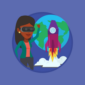 Woman in virtual reality headset flying in open space. Woman wearing futuristic virtual reality glasses and playing video game. Vector flat design illustration in the circle isolated on background.