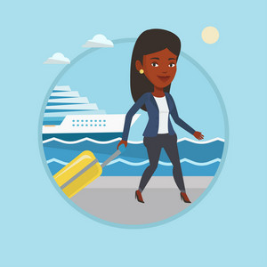 Woman is going to voyage on cruise liner. Woman walking on the background of cruise liner. Passenger of cruise liner walking. Vector flat design illustration in the circle isolated on background.