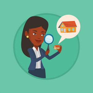 Woman looking for a new house in real estate market. Woman using a magnifying glass for seeking a new house in real estate market. Vector flat design illustration in the circle isolated on background.