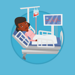 Woman lying in bed in hospital. Woman resting in hospital bed with heart rate monitor. Patient during blood transfusion procedure. Vector flat design illustration in the circle isolated on background.