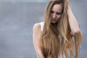 Woman model with long hair outdoor