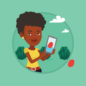 Woman playing action game on smartphone. Woman playing with her mobile phone outdoor. Woman using smartphone for playing games. Vector flat design illustration in the circle isolated on background.