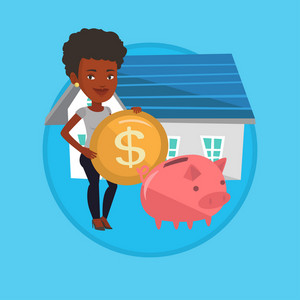 Woman putting dollar coin in piggy bank. Woman standing on the background of house. Concept of investing money in real estate. Vector flat design illustration in the circle isolated on background.