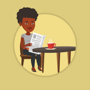 Woman reading newspaper in a cafe. Woman reading the news in newspaper. Woman sitting with newspaper in cafe and drinking coffee. Vector flat design illustration in the circle isolated on background.