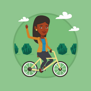 Woman riding a bicycle in the park. Cyclist riding bicycle and waving hand. Woman on a bicycle outdoors. Healthy lifestyle concept. Vector flat design illustration in the circle isolated on background