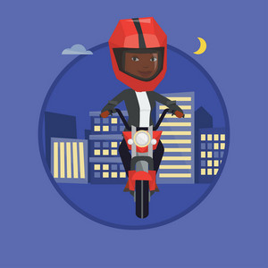 Woman riding a motorcycle on the background of city. Woman driving a motorcycle on a city road. Woman riding a motorcycle at night. Vector flat design illustration in the circle isolated on background