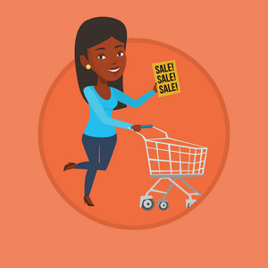 Woman running on sale. Woman holding paper sheet with sale text. Woman with shopping trolley running in a hurry to the store on sale. Vector flat design illustration in circle isolated on background.