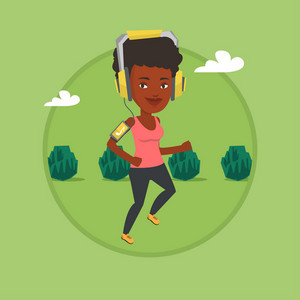 Woman running with earphones and armband for smartphone. Woman using smartphone to listen to music while running in the park. Vector flat design illustration in the circle isolated on background.