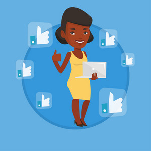 Woman showing thumb up and like social network buttons around her. Woman with laptop and like social network buttons with thumb up. Vector flat design illustration in the circle isolated on background