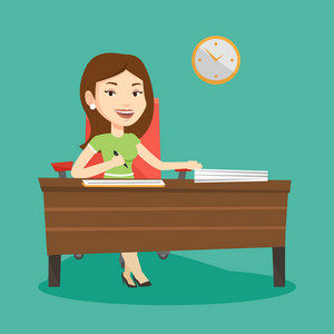 Woman signing business documents in office. Woman is about to sign a business agreement. Confirmation of transaction by signing of business contract. Vector flat design illustration. Square layout.